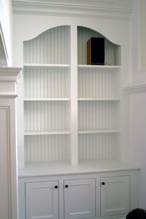 built-in shelve system, love the beadboard backing