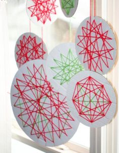 Yarn Wrapped Ornaments Craft for kids to make -- small for a tree or large for a window display.