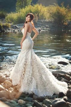 Picture perfect! How much do you love the silk satin ruffles?! #weddinggown #wedding #dress {Miosa Couture}
