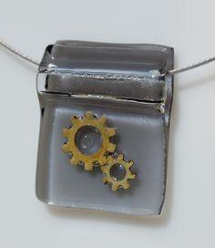 Fused Glass Pendant w Gears