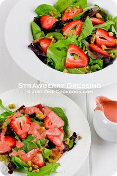 Strawberry Salad with Strawberry Dressing | Easy Japanese Recipes at JustOneCookbook.com