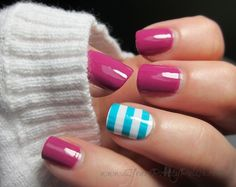 Solid raspberry; accent nail has white base with thick horizontal teal stripes.