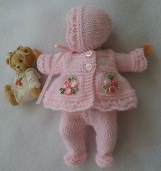 "Hand Knitted Dolls Clothes To Fit 6/7"" OOAK Sculpt or Similar Doll...but nice design for a real baby"