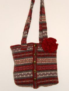 Felted tote Bag Christmas red and gray by mcleodhandcraftgifts