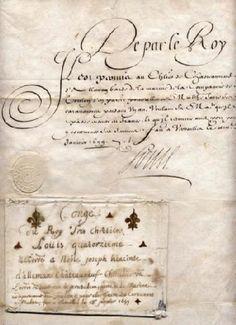 Congé accordé par Louis XIV avec son enveloppe. 13 janvier 1699