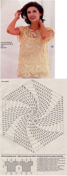 Spirally Motif Top free crochet graph pattern