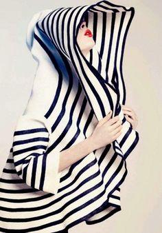 jean paul gaultier, fashion models, black white, red lips, coco rocha, drama, hood, stripe, hat