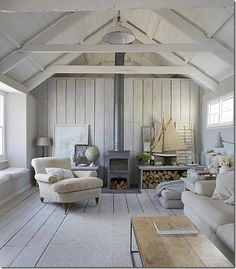 White with wood stove