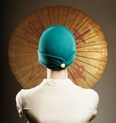 Teal Green Cloche Hat With Button