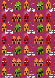 FREE printable house pattern paper ^^ - cute haunted houses for halloween wrapping