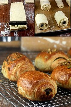 Homemade White Chocolate and Dark Chocolate Croissants (Pain Au Chocolat), PLUS -  Pistachio Croissants and Bacon and Cheese Croissants.