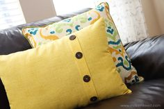 Fold-Over Button Pillow (home decor).  I've done stuff like this (as well as flanged, quilted pillow cases for throw pillows)  Use any fabric or prints I like and I can make the bed, couch, etc. look different any time foldov button, vintage buttons, sewing projects, pillow tutori, button pillow, pillow covers, throw pillows, diy pillows, sewing tutorials