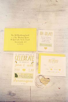 Adorable yellow invite suite. Yellow Door Creative.