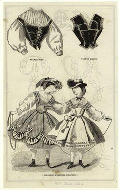 Velvet body/bodice, & children's fashions for June. Harper's Magazine, June 1864. NYPL Digital Collections.