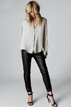 silk bouse + leather pants + ankle strap heels