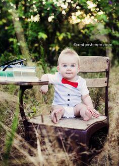 Seersucker + red bowtie baby onesie #Etsy $25