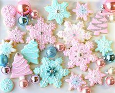 Penelope Vintage Winter Birthday pink christmas, vintage winter, blue christmas, holiday cookies, christmas sugar cookies, pastel colors, cookie decorating, snowflak, winter birthday