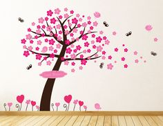 Tree with Blowing Blossom Wall Sticker by parkins interiors