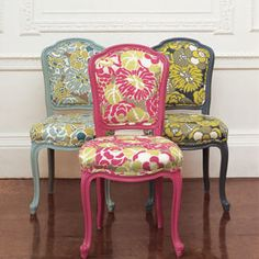 Enough with the painted and recovered vintage chairs...but I'm SO in love. And it's SO easy!