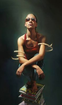 """See No Evil"" - Mitch Griffiths, 2004, oil on canvas {contemporary hyperrealism artist female stooping on fashion magazines realistic woman painting cropped} Stacked !!"