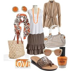 Ruffle Skirt and Pops Of Orange :) Oh, this is SO cute for spring!!