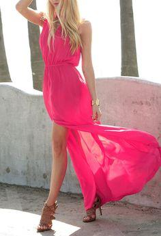 Flowy neon dresses.