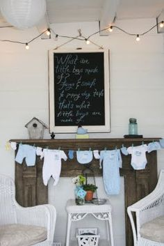 baby shower decor clotheslines, baby shower ideas, baby boy shower, baby boys, couple shower, babies clothes, clothes lines, babi shower, baby showers