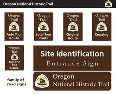 Oregon Trail family of road signs famili, road trip, trail road, road sign