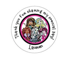 Monster High Thank You Stickers by TootnBoo on Etsy, $6.00