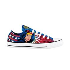 Wonder woman shoes!  I love high heels and I only have 2 flat shoes but I would so wear this just coz its Wonder woman =)