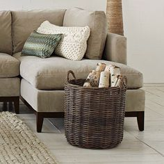 west elm style tips on a budget- decorate with baskets