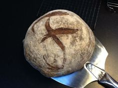"""""""Poilane have 'P' on their loaves. This has 'F' for Frythe Barn (not Fry The Barn) after our House."""" —Hope Bake home micro-bakery ([@]HOPEbake). Photo pinned with permission."""