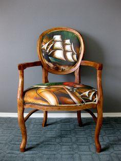 Baron of the Deep Chair . Brandi Milne artist collaboration with Rubbish Rehab