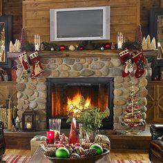 Christmas Mantel at bhg.com  http://www.bhg.com/christmas/indoor-decorating/mantel-decorating-ideas/ [ #mantel #mantle #display #ideas #fire #place #fireplace  #Christmas #rustic ]