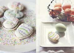 Easter Egg Macaron Cookies filled with Nutella ~ Easter