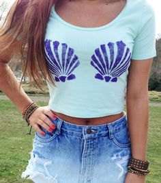 Mermaid Crop Top The Little Mermaid Inspired Mint Cropped Top Mermaid Top Women's Clothing Summer Hipster Tee Tumblr Fashion Festival Wear on Etsy, $25.00