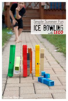Fun outdoor game for kids! LEGO ice bowling.