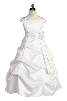 White Satin A-line Pick-up Long  Flower Girl Dress with Sleeves JD1147W $64.95 on www.GirlsDressLine.Com