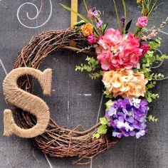 Spring summer custom monogrammed wreath. via Etsy.