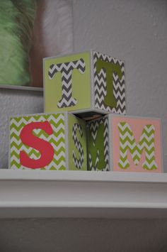 DIY Baby Blocks are the perfect #nurserydecor (one for each of the triplet's initials!)