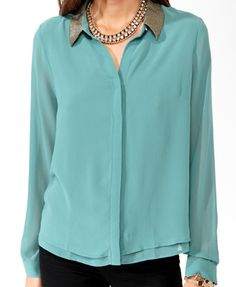 F21 Sequined collar layered shirt, sea green $29.80