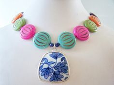 I LOVE everything from Polished Two!    Colorful Statement Necklace with Pottery Shard Pendant by polishedtwo, $28.00
