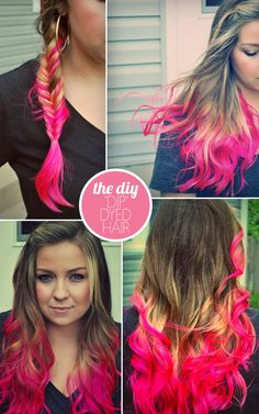 "the DIY: ""DIP"" DYED HAIR - I do this all the time with this color product and everything and I love it, I even take just the pigment and use a paintbrush and do it....works really well."