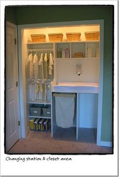 Nice use of closet space to include changing table and storage.