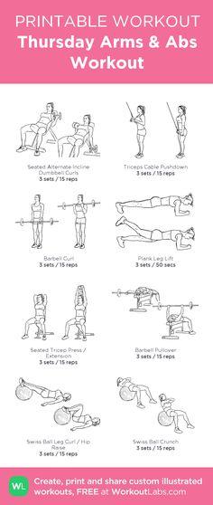 Thursday Arms & Abs Workout:my custom printable workout by @WorkoutLabs #workoutlabs #customworkout #abs #arms
