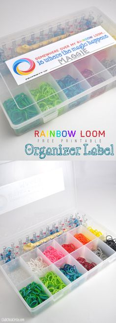 Somewhere over the Rainbow Loom Organizer free printable label