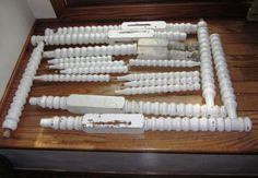 Antique Chippy White Wood Spindles From Bed and 2 from Old Shabby Table Legs For Crafts. $38.00, via Etsy.