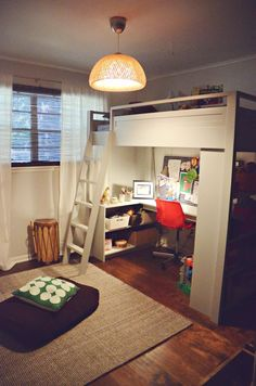 Room Size: 100 sq. ft.   With a very small space to design, Aja Vaught and her family had to get clever. She and her husband came up with a custom loft bed that allows for a fun sleeping space as well as a cozy study and play area. They used furniture and decorative items from around their own home while inventing some unique ways to organize in a small space. Small Bedrooms, Bunk Beds, Studies Nooks, Boys Rooms, Using Furniture, Small Rooms, Small Spaces, Loft Beds, Kids Rooms