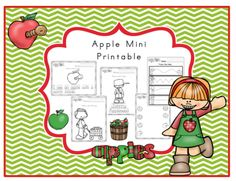 Free Apple Mini Printable from Preschool Printables on TeachersNotebook.com -  (22 pages)  - Coloring-tracing-cutting