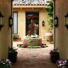 Mediterranean Courtyard Gardens Design, Pictures, Remodel, Decor and Ideas